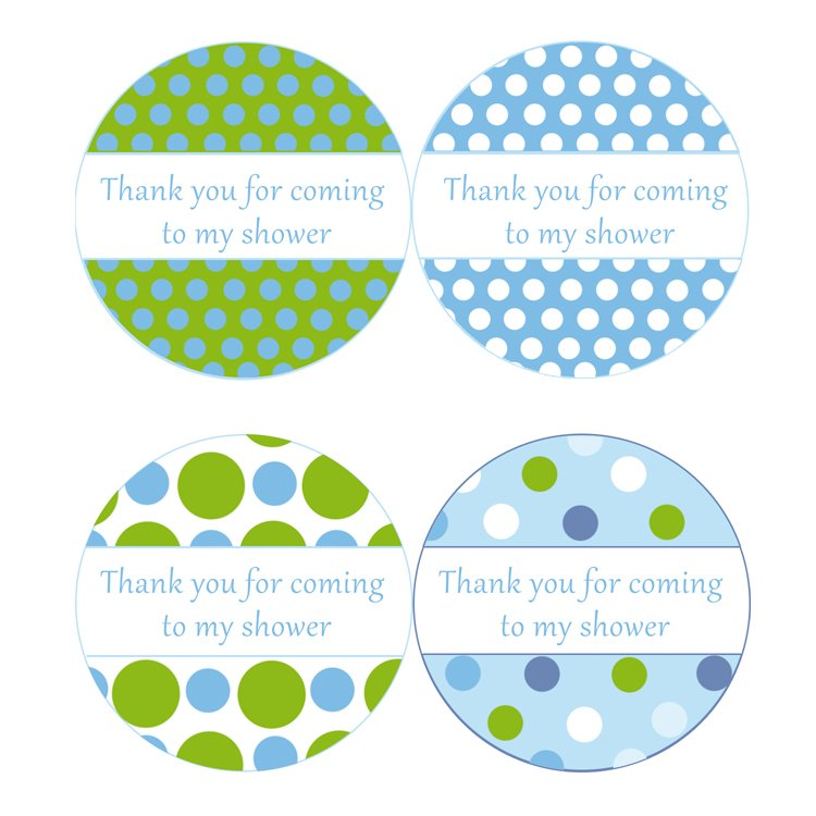 Printable Thank You Tags Stickers Baby Boy Shower Polka