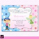 Printable Pirate Fairy Pixie Princess Birthday Party Invitations Polka Dots Girl Baby Print Yourself