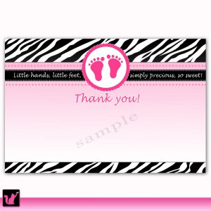 30 Baby Shower Blank Thank you Card Note Hot Pink White Black Zebra