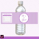 25 Purple Stripes Photo Water Bottle Labels Wrappers Birthday Girl