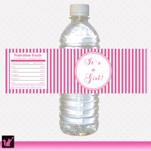 Hot Pink Stripes Photo Water Bottle Labels Wrappers Birthday Girl