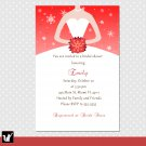 20 Snowflake Winter Bridal Shower Wedding Invitations White Bride Dress 4x6 Snow Flake