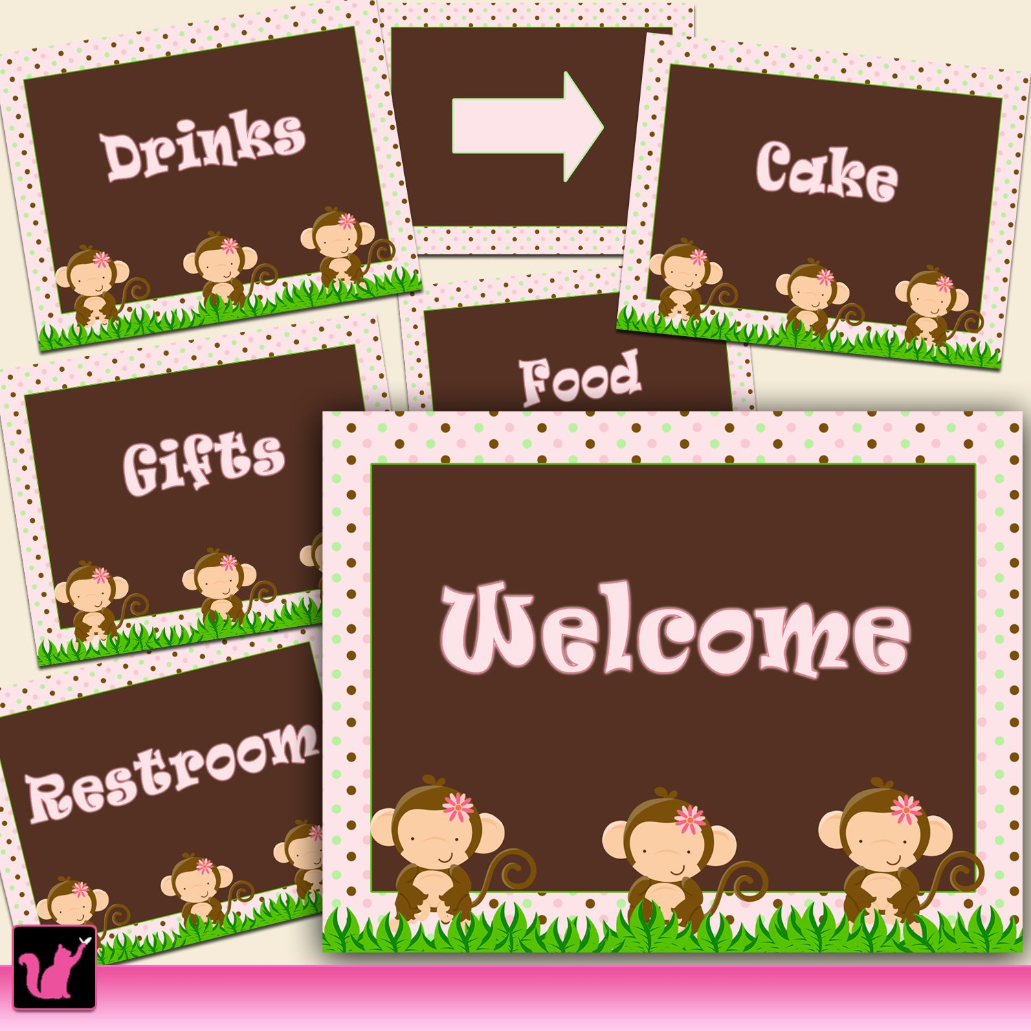 printable jungle pink welcome sign baby shower or birthday party decoration. Black Bedroom Furniture Sets. Home Design Ideas