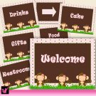 Printable Jungle Pink Welcome Sign - Baby Shower or Birthday Party Decoration