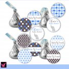 Hershey Kiss stickers - Printable Baby Blue Elephant Circles Polka Dots