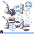Hershey Kiss stickers - Printable Baby Blue Elephant Circles Polka Dots