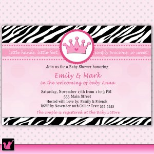 Printable Baby Shower or Birthday Pink Zebra Princess Invitations