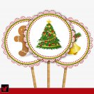 Printable Christmas Party Trees Bells Ginger Cupcake Toppers