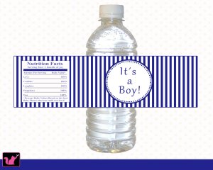 25 Personalized Nautical Navy Blue Baby Shower Bottle Water Labels Stickers