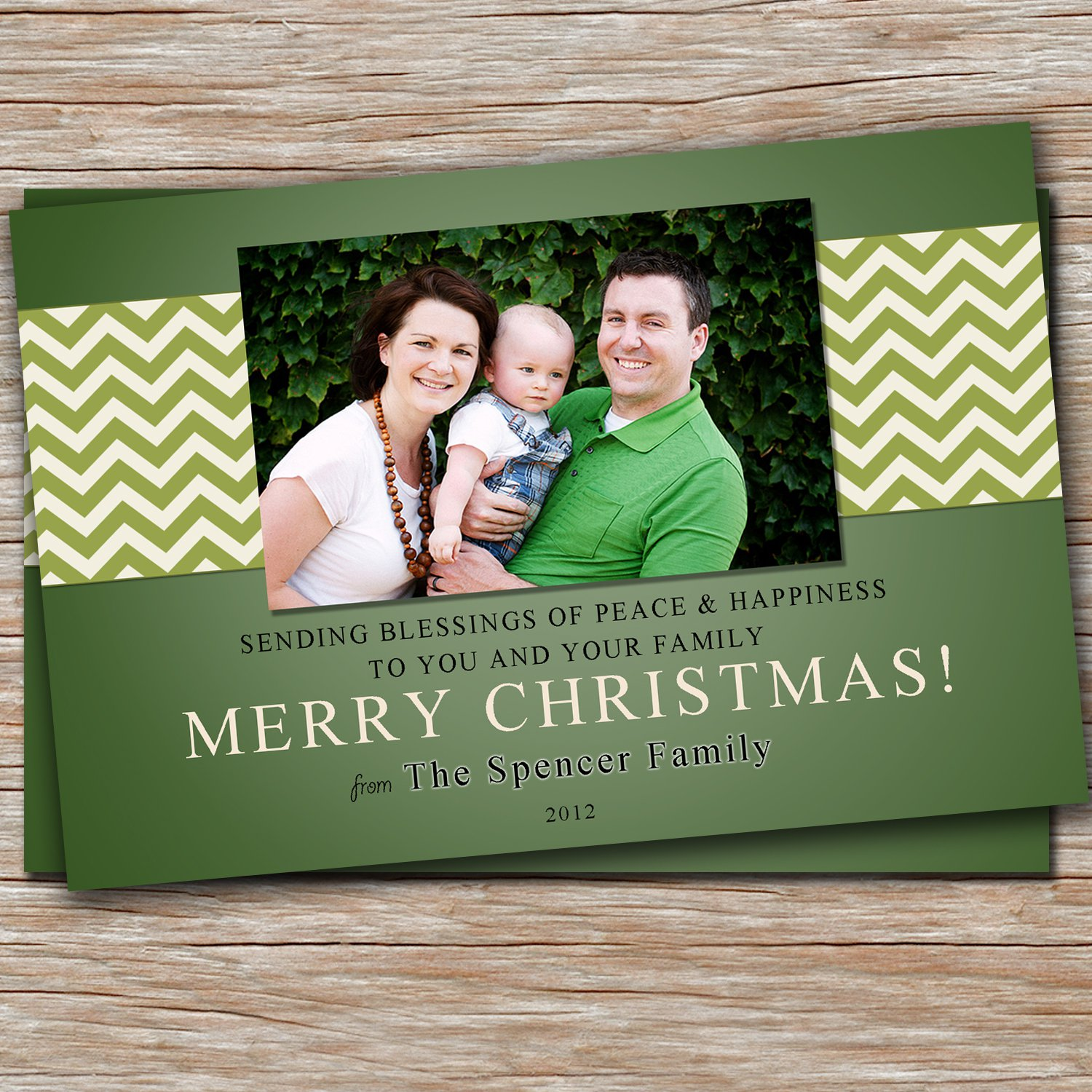 Buy personalized e greeting cards - 30 Personalized Holiday Greeting Photo Card - Custom Chevron Green