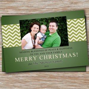 30 Personalized Holiday Greeting Photo Card - Custom Chevron Green