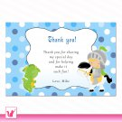 Printable Thank You Cards Jungle Safari Blue Polka dots Birthday Party Baby Shower Boy Notes 1st