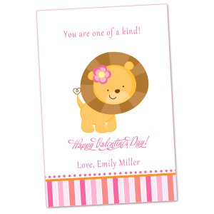 Printable Personalized Valentines Love Day Card Lion Pink