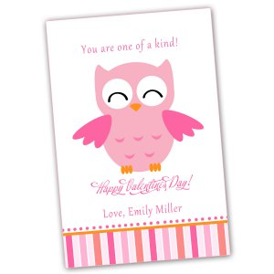 Printable Personalized Valentines Love Day Card Owl Pink