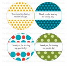 40 Round Polka Dots Thank You Tags