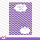 Printable Cute Clips for Baby Chevron Card