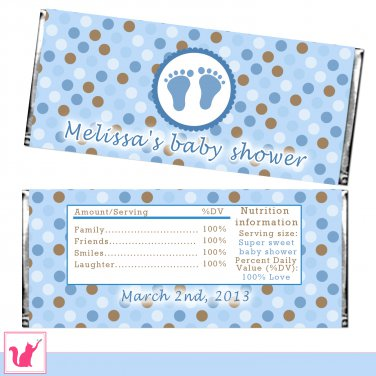 Printable personalized baby feet polka dots candy bar for Candy bar wrappers template for baby shower printable free
