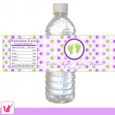 25 Personalized Baby Feet Polka Dots Baby Shower Water Bottle Label Stickers