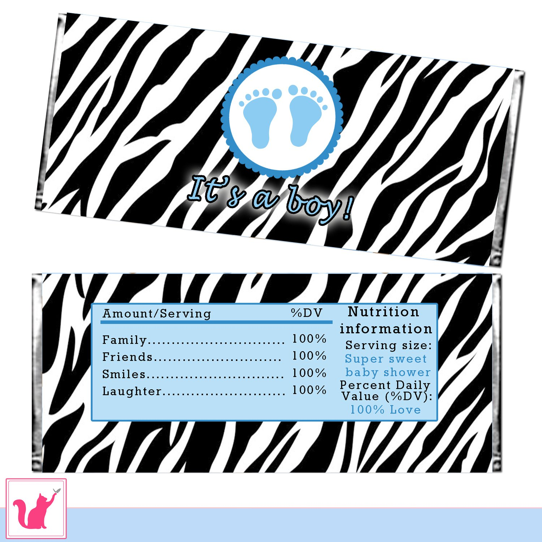 printable zebra it u0027s a boy candy bar wrapper baby shower