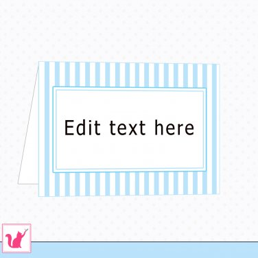 Printable Personalizable Blank Folded Blue Stripes Tent Card