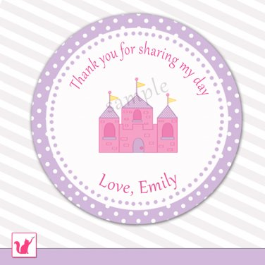 Printable Personalized Pink Castle Thank You Tags - Baby Shower Birthday