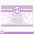 Printable Personalized Chevron Purple Green Baby Shower Invitation