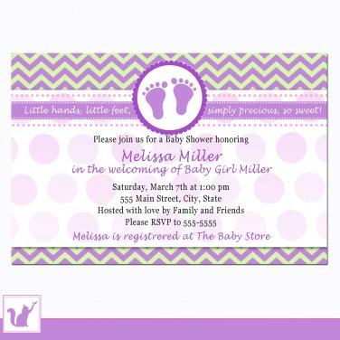 Printable Personalized Chevron Purple Green Baby Shower Invitation