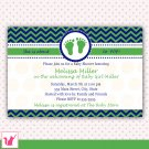 Printable Personalized Chevron Blue Green Baby Shower Invitation
