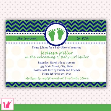 30 Personalized Chevron Blue Green Baby Shower Invitations