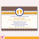 30 Personalized Chevron Navy Blue Orange Baby Shower Invitations
