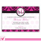Printable Personalized Damask Hot Pink Birthday Anniversary Party Invitation