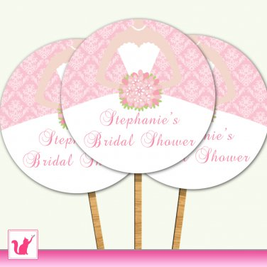 20 Personalized Bridal Shower Damask Pink Cupcake Topper