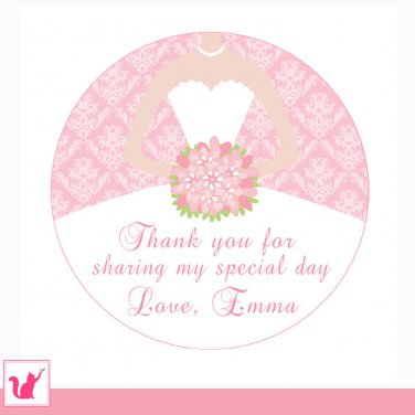 40 Personalized Personalized Damask Pink Thank You Tags - Bridal Shower