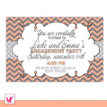 Printable Personalized Chevron Bridal Shower Wedding Engagement Rehearsal Dinner Invitation