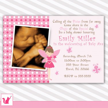 Printable Personalized Adorable Pink Fairy Baby Shower Invitation
