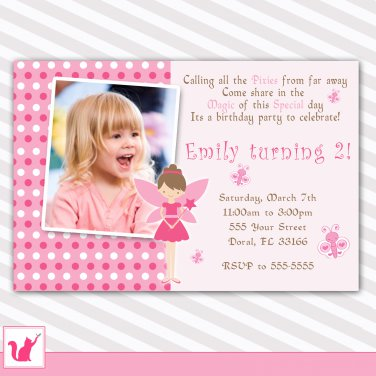 Printable Personalized Adorable Pink Fairy Birthday Party Invitation