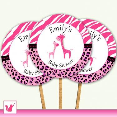 Printable Personalized Jungle Giraffe Cupcake Topper