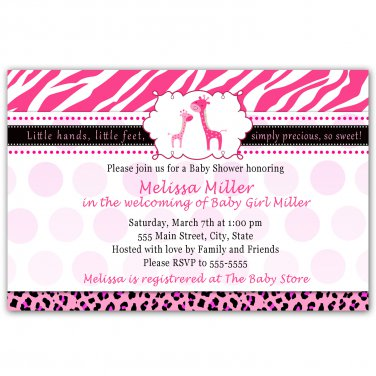 30 Personalized Adorable Jungle Giraffe Baby Shower Invitation