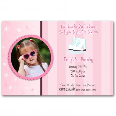 Printable Personalized Adorable Ice Skate Birthday Party Invitation