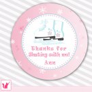 Ice skating favor label sticker tag pink skates winter printable personalized