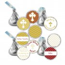 Hershey Kiss stickers - Printable Personalized Red Gold Christening Occasion Labels