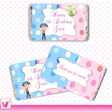 90 Personalized Cute Pirate Fairy Mini Candy Wrapper - Birthday Party