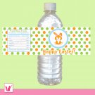Printable Personalized Cute Orange Baby Bunny Happy Easter Water Bottle Label Wrappers