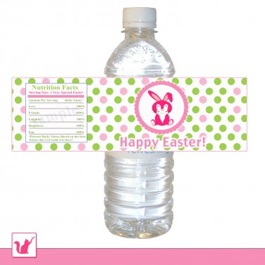 25 Personalized Cute Hot Pink Baby Bunny Happy Easter Water Bottle Label Wrappers 2