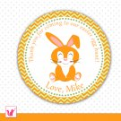 Printable Personalized Easter Bunny Thank You Tag - Easter Egg Hunt Circle Stickers 2