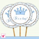 20 Personalized Cute Prince Cupcake Topper - Baby Shower Birthday