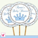 20 Personalized Cute Prince Cupcake Topper 2 - Baby Shower Birthday
