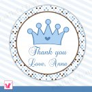 Printable Personalized Cute Prince Thank You Tags 2 - Baby Shower Birthday