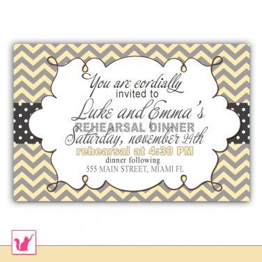 30 Personalized Chevron Rehearsal Dinner Bridal Shower Wedding Engagement Invitation