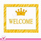 Printable Personalizable Jungle Prince Baby Feet Yellow Welcome Sign - Birthday Party Baby Shower